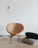 Fauteuil osier coquille
