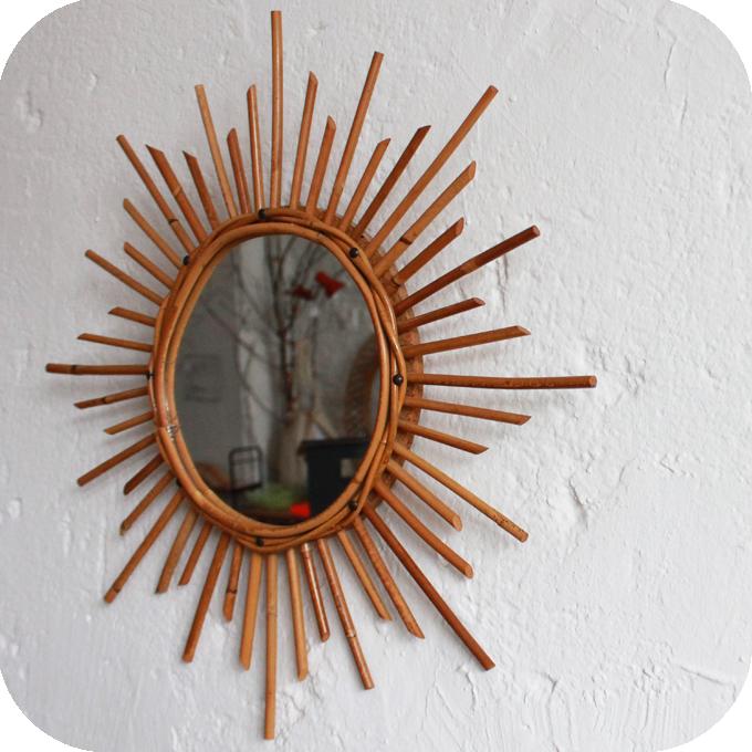 E228 miroir ancien rotin c atelier du petit parc for Ancien miroir soleil