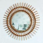 Miroir rotin vintage – Soleil – F250