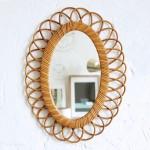 Miroir rotin vintage – Fleur