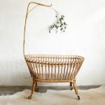 Lit berceau bébé rotin vintage – F336