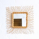 Miroir osier vintage – Carré – F343